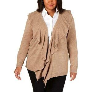 Karen Scott Ruffle Trim Luxsoft Cardigan Sweater